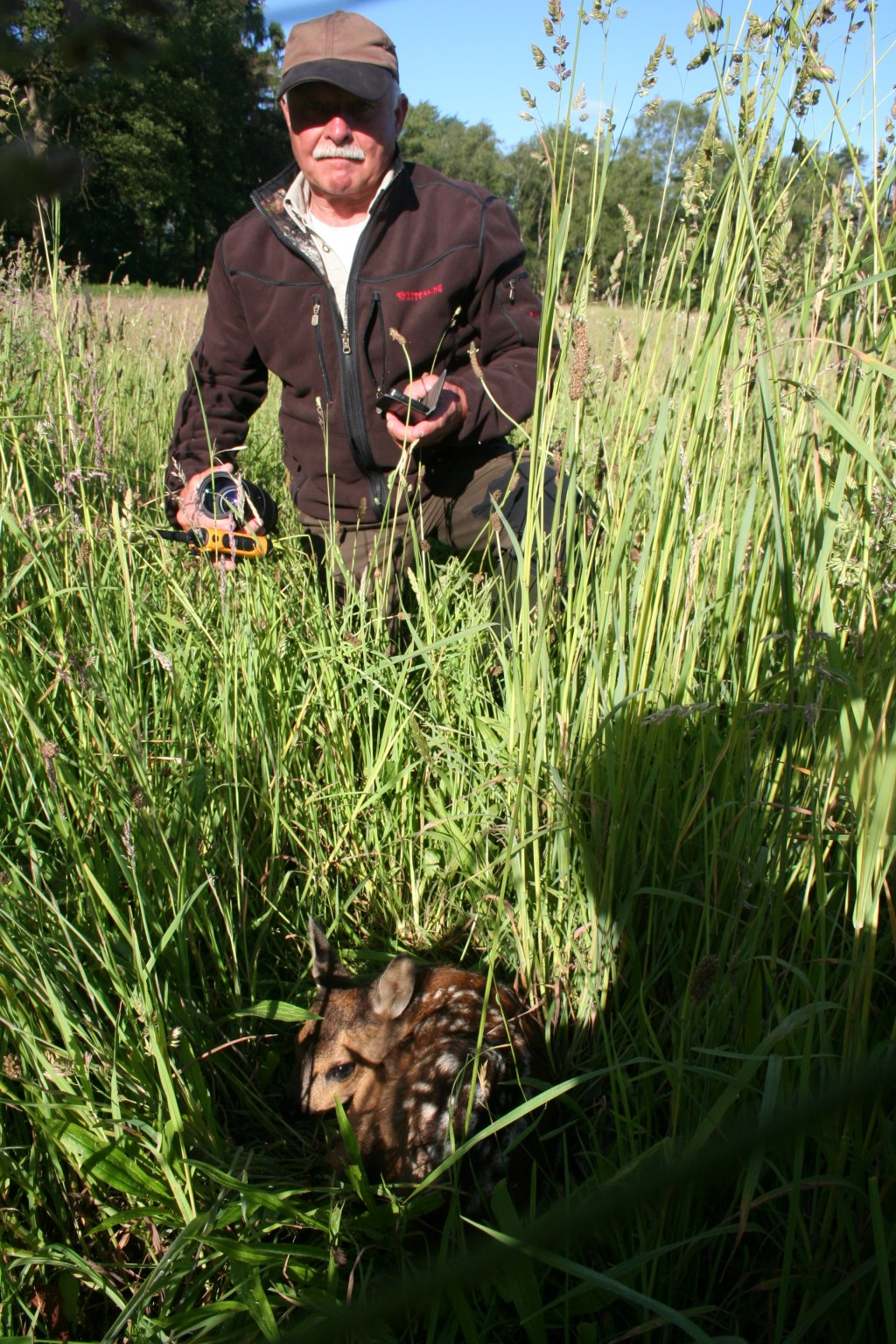 Henk Vriezen vindt donderdagochtend een kalfje van hooguit een paar dagen oud. Foto: Verona Westera  © Achterhoek Nieuws b.v.