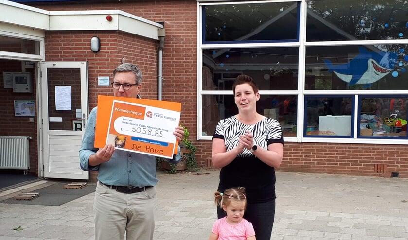 Directeur Jan van der Horst toont de cheque met het enorme bedrag. Rechts Marloes en dochtertje Fleur.  Foto: PR