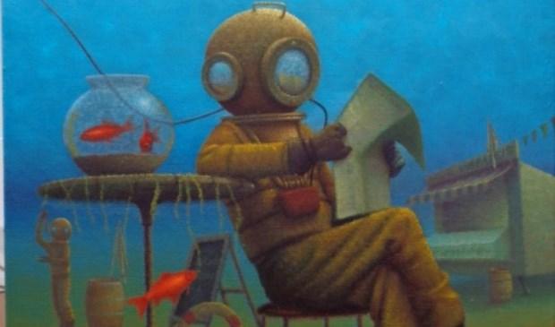 Uitkijkpost expositie theo leering in het trefpunt - Associatie van kleur e geen schilderij ...
