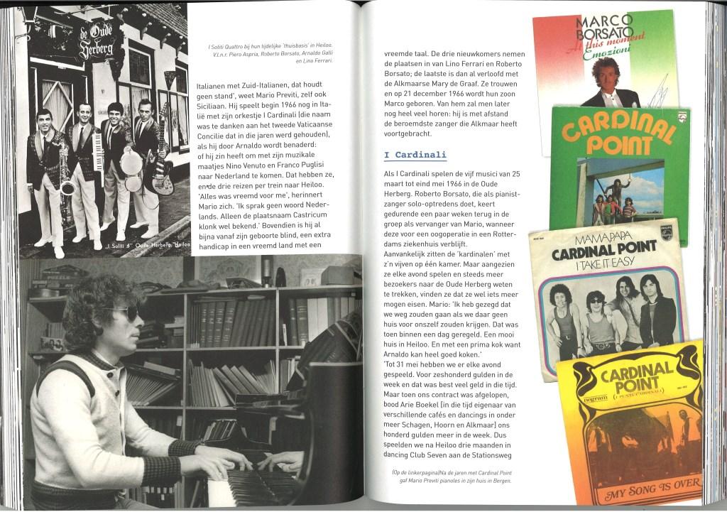 Linkerpagina van het boek: 'I Soliti Quatro' met de vader van Marco Borsato voor 'De Oude Herberg.