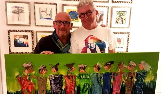 Martin en Wim met het te veilen doek
