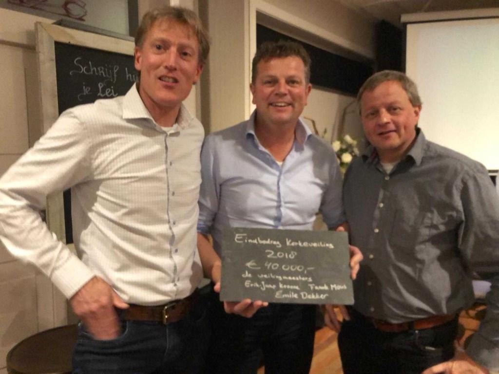 De drie veilingmeesters: Emile Dekker, Erik Jaap Kroone en Frank Mous