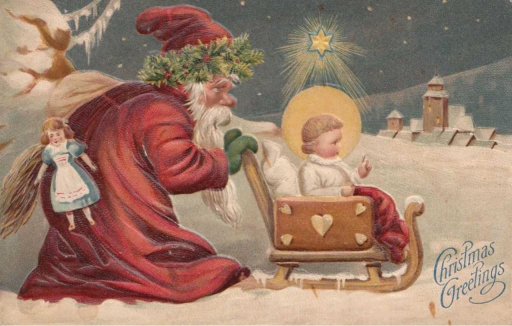 Duitse kerstkaart in reliëf van de kerstman met het Kerskind, gedrukt rond 1905 en bestemd voor de Engelse markt.