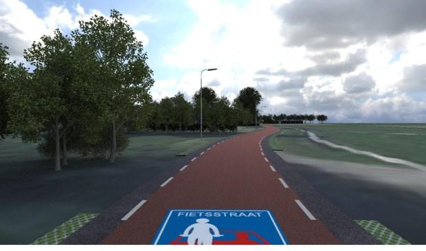 Zo gaat de Uitgeesterweg er als fietsstraat uitzien