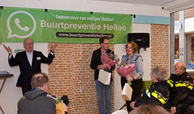 Burgemeester Hans Romeyn bedankte Paul Dirks en Daniëlle Kloos voor hun enorme inzet voor  Buurtpreventie Heiloo