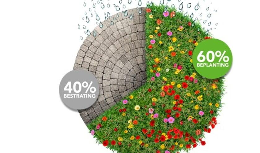 De juiste verhouding zou moeten zijn, 40% bestrating en 60% beplanting.