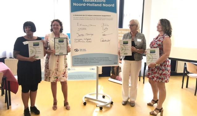 Op de foto v.l.n.r.: Lotte Mol (STOER), Petra van der Klei (Inova), Elly Beens (wethouder Heiloo) en Monique Ravenstijn (Jumbo Zwaagdijk).
