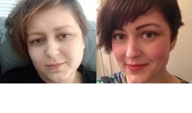 Links een foto van Elisah nu, uitgeput en ziek. Rechts een foto van Elisah vroeger.