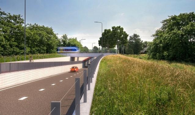 Een visual van de toekomstige spoorwegonderdoorgang op de Vennewatersweg.
