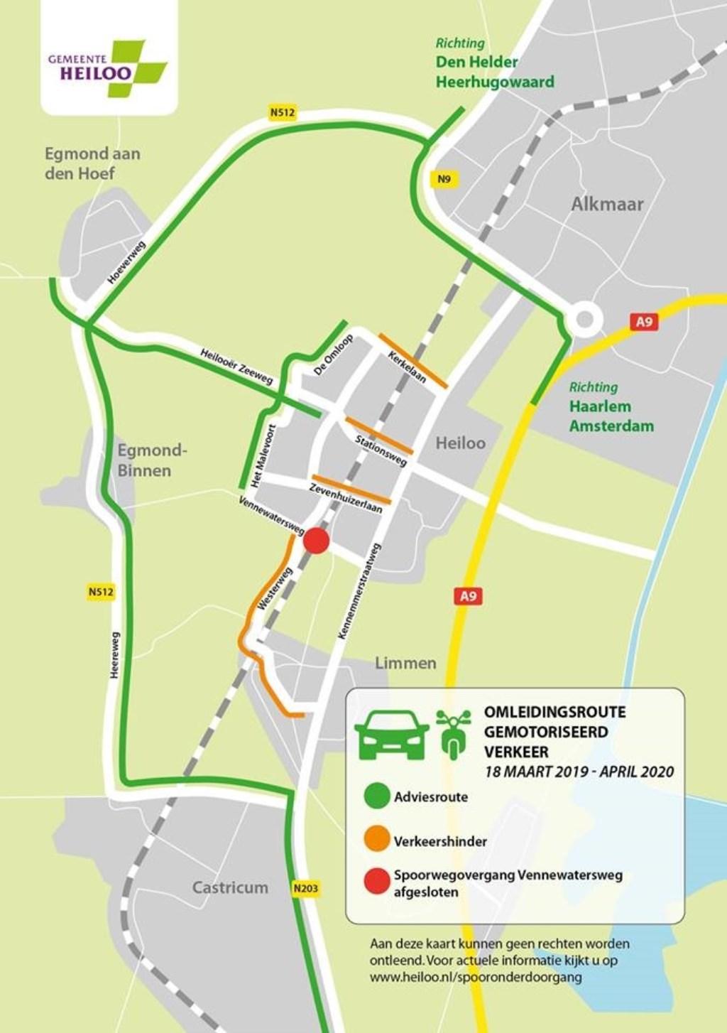 Omleidingsroute gemotoriseerd verkeer 18 maart 2019 - april 2020 Foto: Gemeente Heiloo © Uitkijkpost Media B.v.