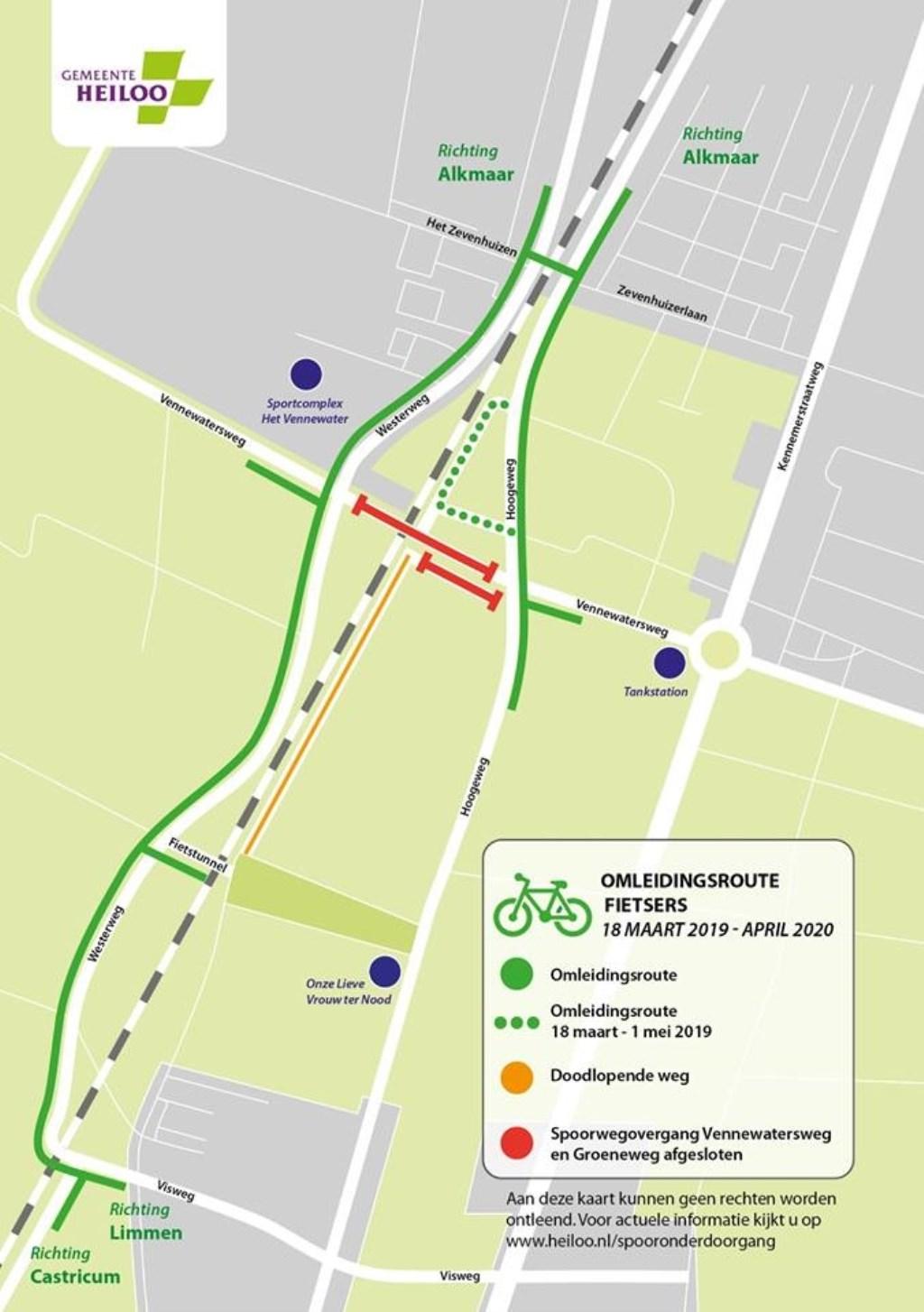 Omleidingsroute fietsers 18 maart 2019 - april 2020 Foto: Gemeente Heiloo © Uitkijkpost Media B.v.