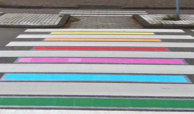 D66 liet gisteren direct zien de motie te ondersteunen, want legde nog tijdens de vergadering met papier een regenboogzebrapad aan voor het gemeentehuis.