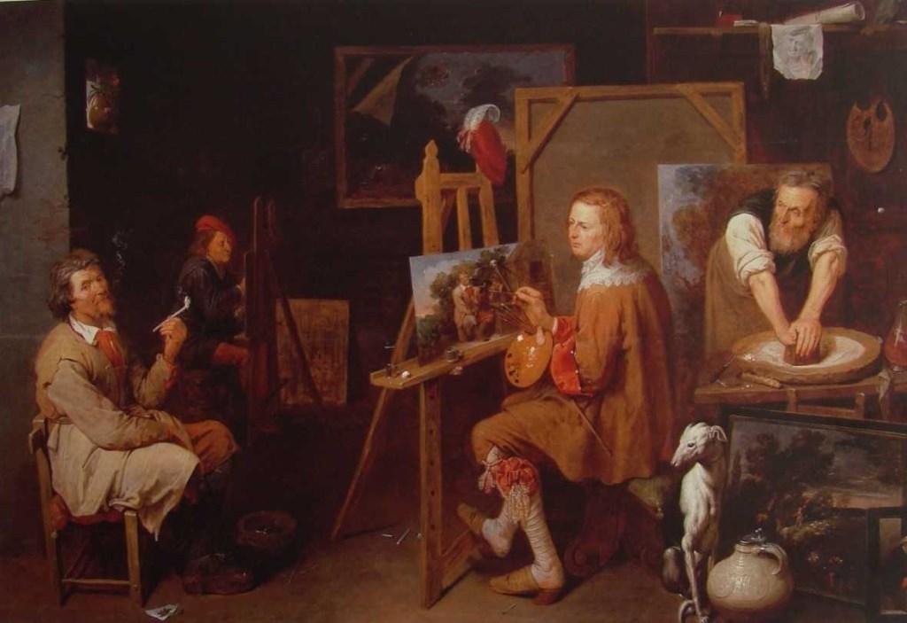 David Rijckaert III, Het atelier van de schilder, 1638, olieverf op doek, Dijon, Musée des Beaux-Arts