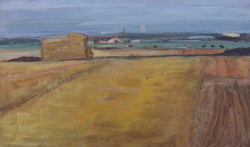 'Het Vennewater' 1986, olieverf Marjan de Glopper.  Gezicht vanaf de Hogeweg in Egmond-Binnen, richting Heiloo.