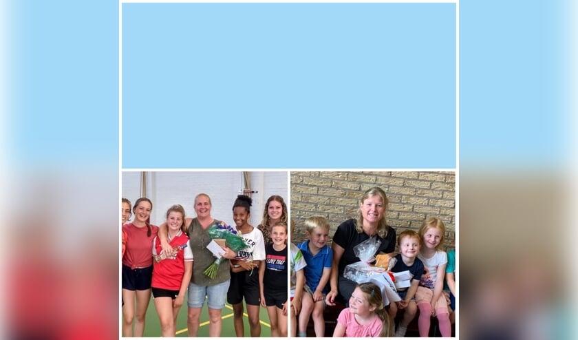 Foto links Melanie Tabak en foto rechts Linda Brouwer, beiden temidden van een aantal van hun leerlingen.