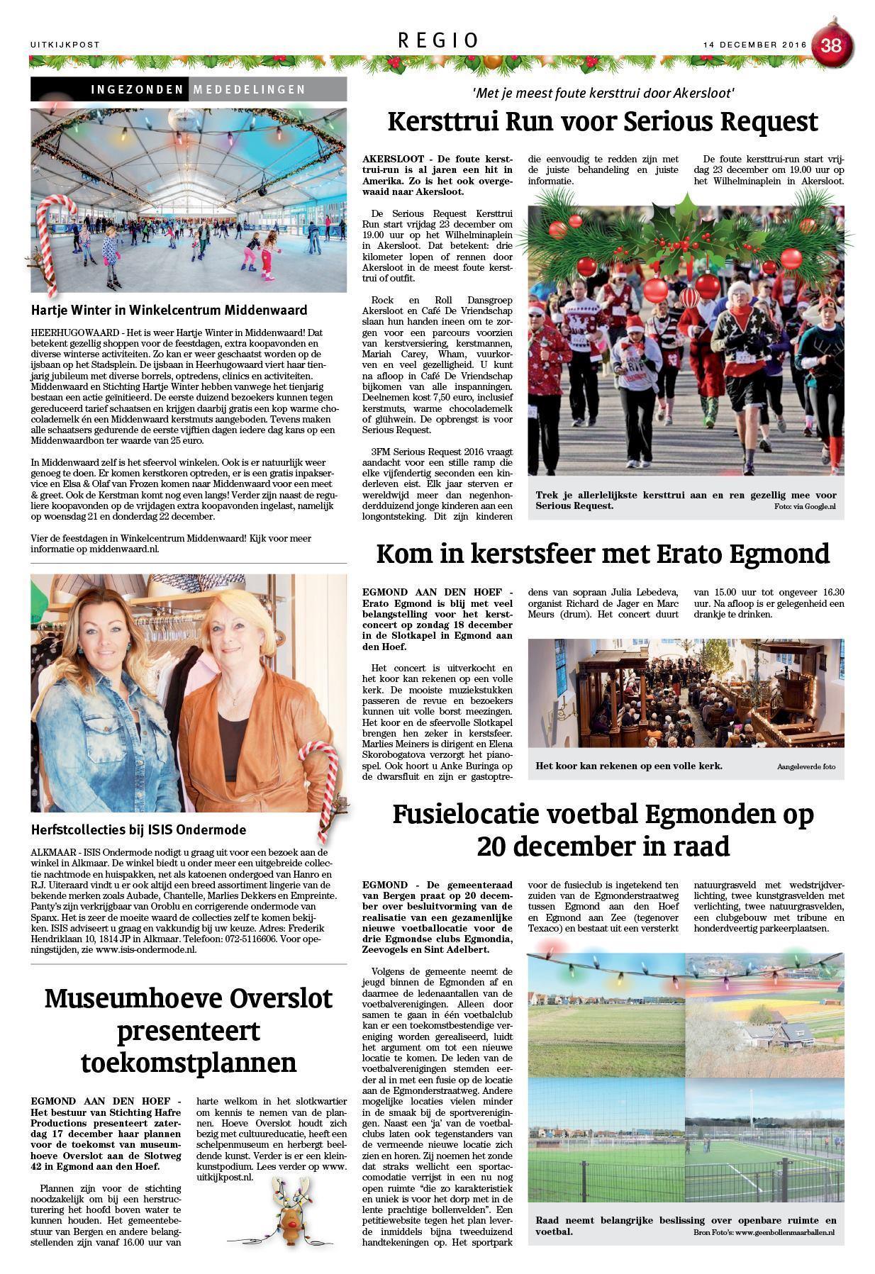 Kersttrui Staatsloterij.De Uitkijkpost 14 December 2016