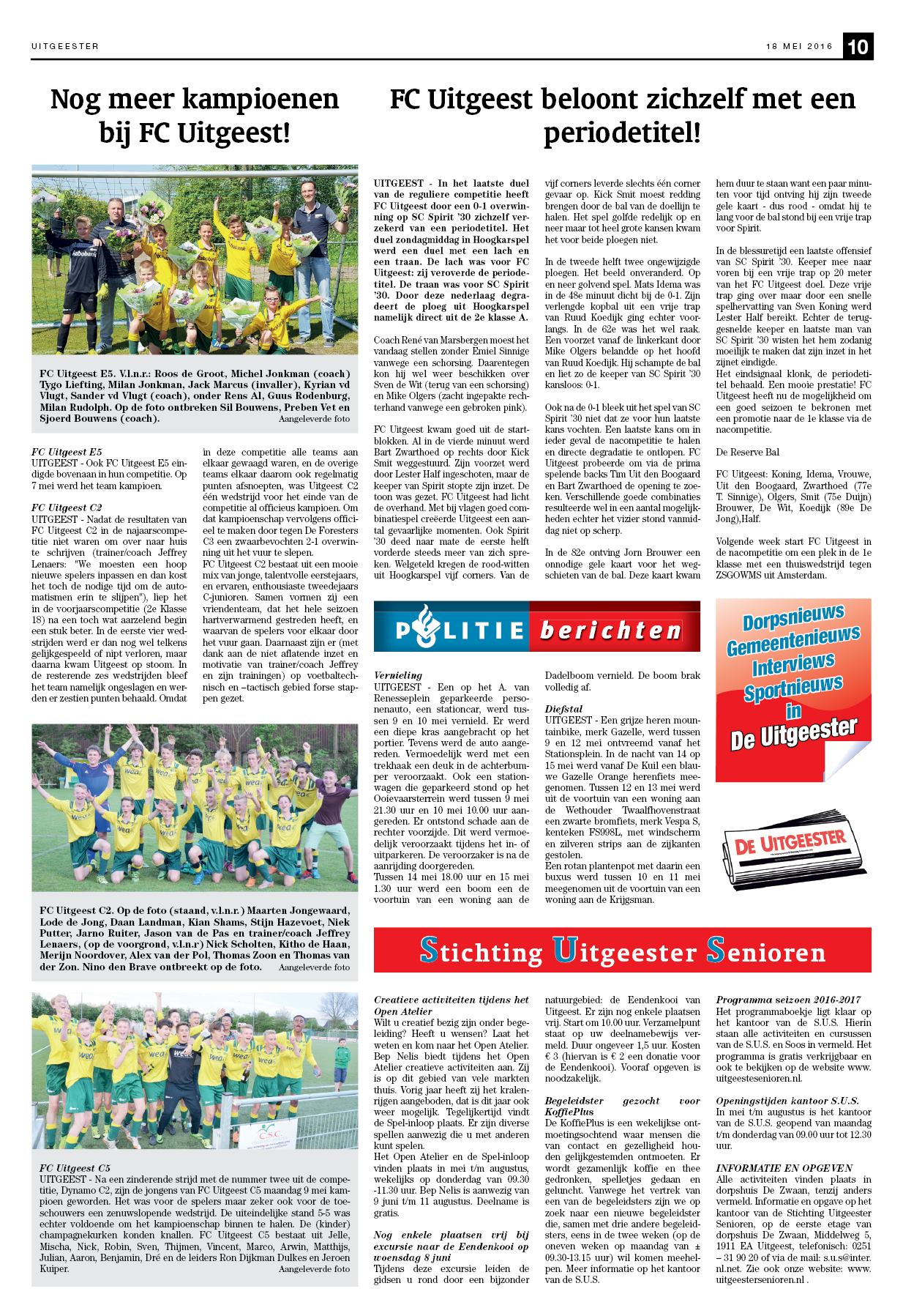 Kleurplaten Van Fc De Kampioenen.De Uitgeester 18 Mei 2016