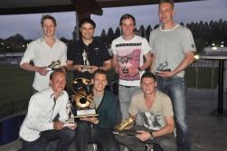 Boven vanaf links: Jasper Spanjerberg, Yamal Bouhali, Bart Tijnagel en Arno Copier. Onder: Robin Lammertse, Marcin Kmiecik en Ramon Westland