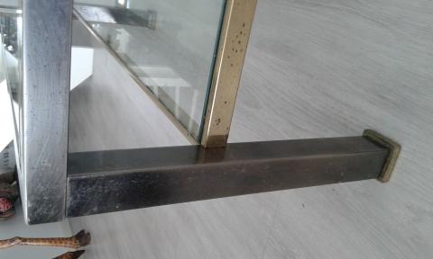 messing salontafel met 2 dikke glasplaten marktplein. Black Bedroom Furniture Sets. Home Design Ideas