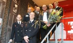Vlnr: Johan Helder, René ter Beek, Jan Jongerius, Pieter Verlijsdonk (clusterhoofd),  Nico Kalwij, Raymond Terwey (post coördinator), Burgemeester Van Bochove en  John van der Zwan (Regionaal Commandant).