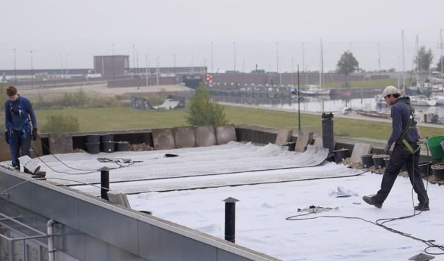 De mannen van Solar Sedum leggen een groen dak aan op Blok 35.