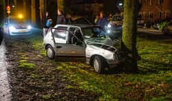 Fikse schade aan de auto na de aanrijding met de boom.
