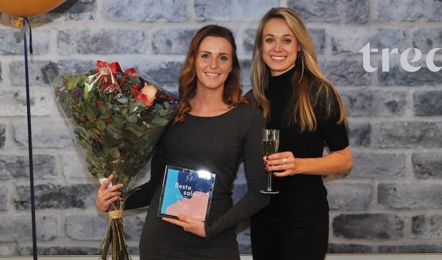 Bloemen en een prijs voor Joëlle van Dolder. Foto: Treatwell