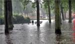 Wateroverlast op De Brink op 28 juli 2014. De reden voor de gemeente om over te gaan op verplichte afkoppeling.
