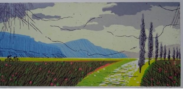 Joke Struik, Zo ver het oog reikt 3, 2017, ets/linosnede, 45 x 60 cm. Een van van de deelnemende kunstenaars aan de tentoonstelling.