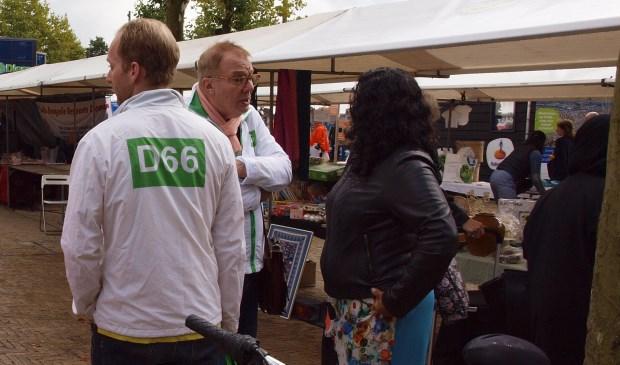 D66 op de kramenmarkt tijdens de gemeentedag op 9 september.