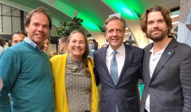Maarten Balzar (fractievoorzitter), Niek Hermsen (steunfractie), Alexander Pechtold, Sawan Bruins (raadslid).