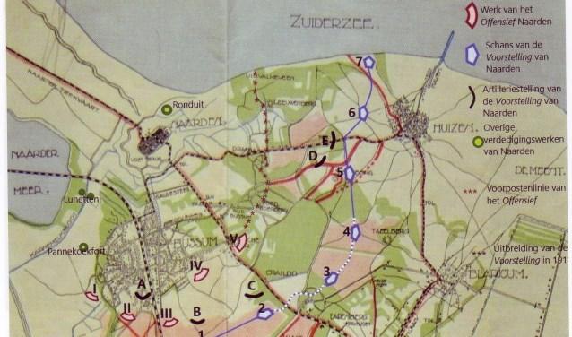 Een kaart met de stellingen van voor de Eerste Wereldoorlog.