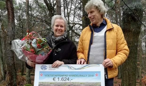 Karen Heerschop en Kees Tabak tonen de cheque.