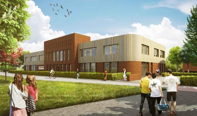 De voorkant van het nieuwe schoolgebouw.