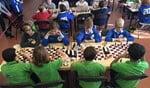 De kampioenen (OBB 1) in blauw in actie tegen de nummer 3 (Bernardus 1) in groen.