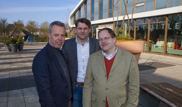Lijsttrekkers Wessel Doorn van de CU (l), Rutger Rebel van het CDA (m) en Rob Bource van de SGP (r).