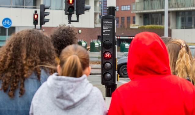 Fietsers bekijken het stoplicht.
