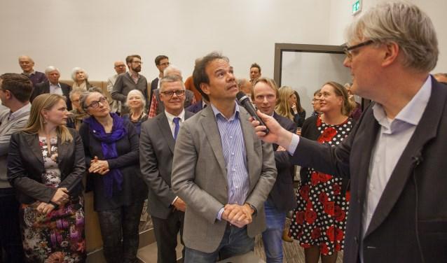 Maarten Balzar (D66) tijdens de uitslag van de gemeenteraadsverkiezingen.