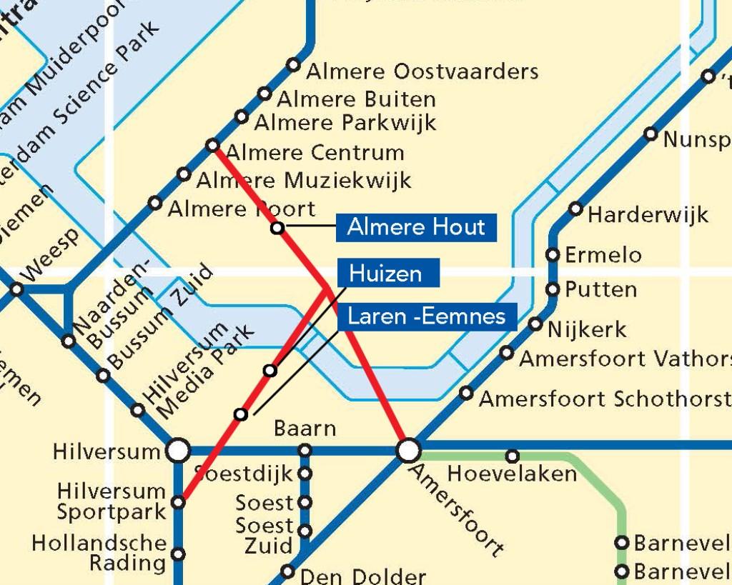 Mogelijke spoorlijn Almere-Huizen-Utrecht met aftakking Amersfoort.