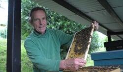 Imker Gert Admiraal bij zijn bijenkasten in de Theetuin.