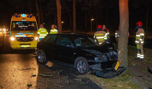 De auto belandde tegen een boom naast de weg.