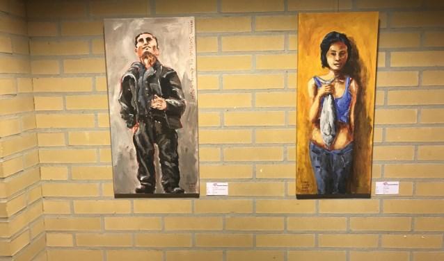 Twee schilderijen van Hans Goedhart.