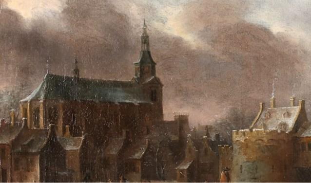Een detail van het 17e eeuwse werk: de toren van de Grote Kerk.
