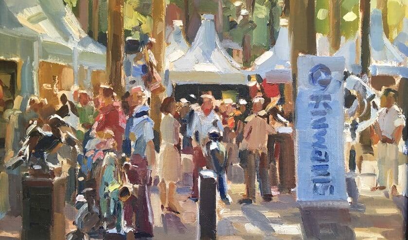 De kunstbeurs op de Brink wordt altijd druk bezocht.