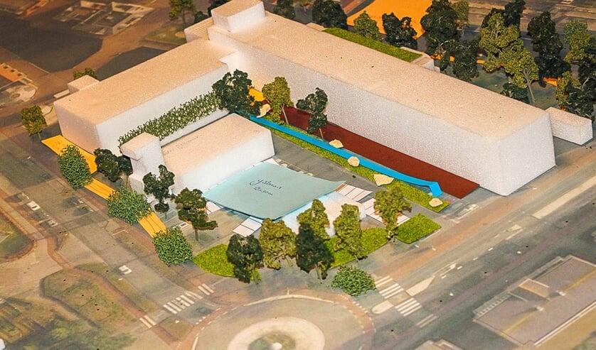 Een van de ontwerpen van het plein voor het gemeentehuis.