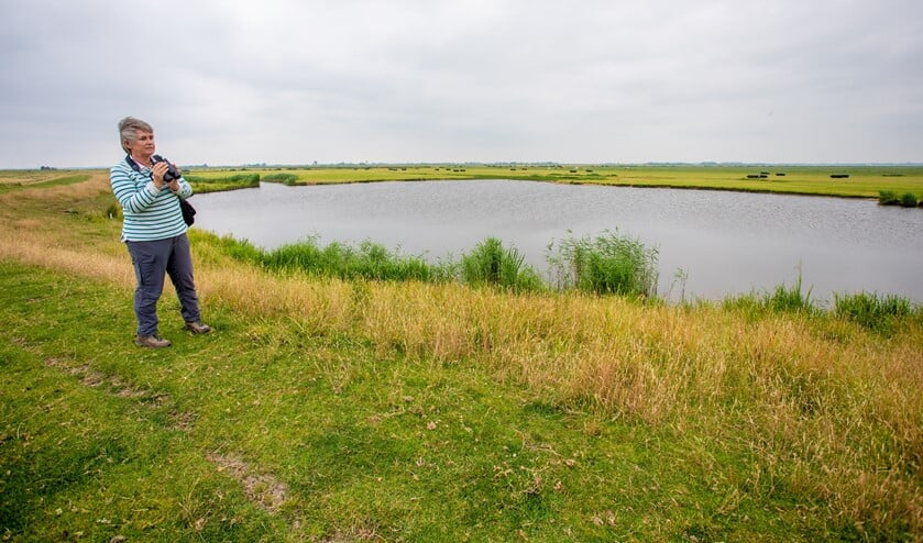 Nelleke Bary bij één van de waaien in het uitgestrekte weidevogelgebied in de Eempolder.