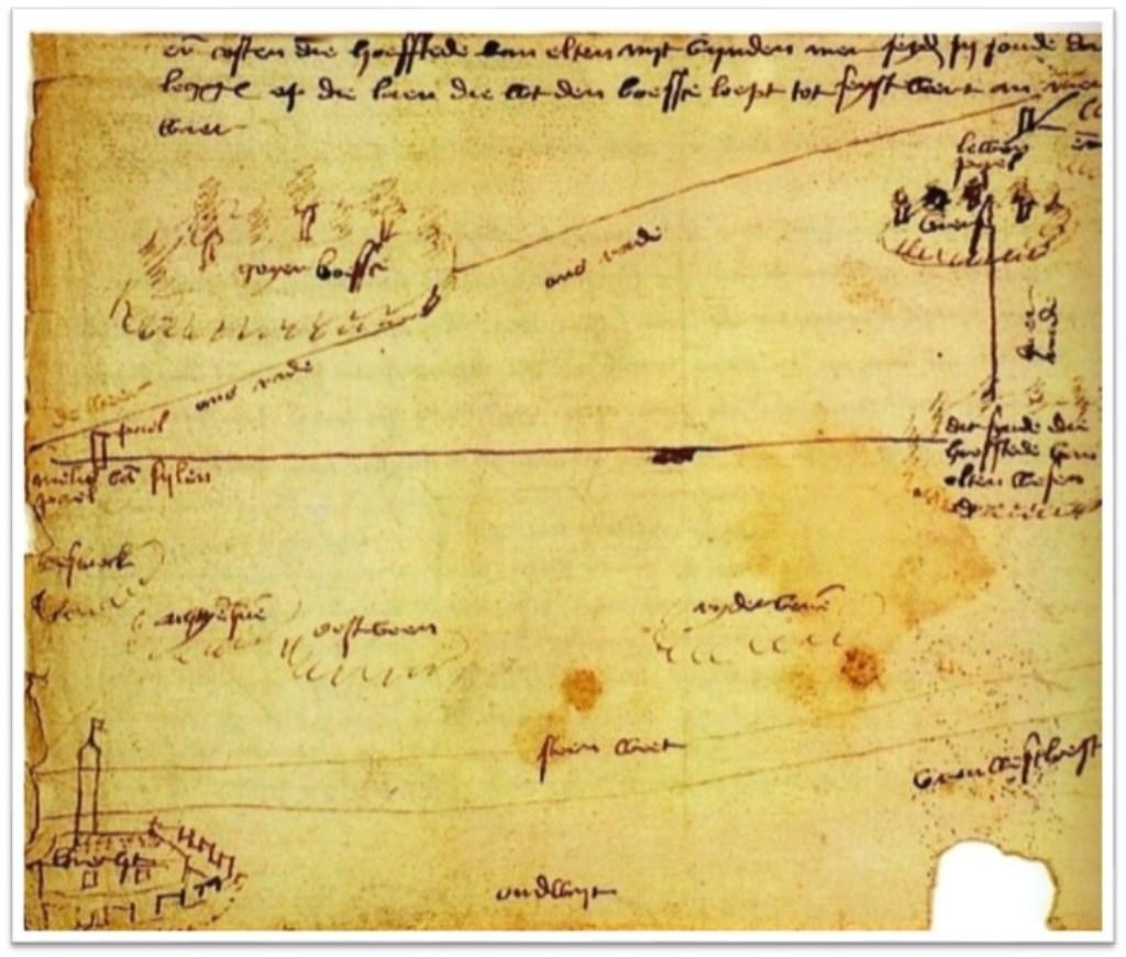 Grensscheiding tussen Holland en Utrecht op een kaart uit 1472. (Nationaal Archief.)  © De Vierklank