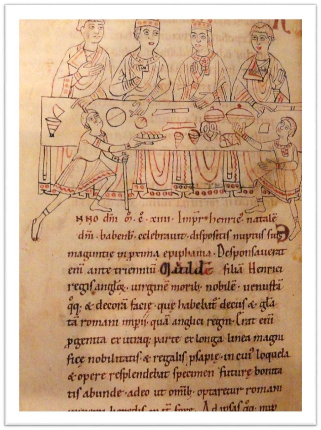 Afbeelding van koningin Mathilde, 12e eeuw. (Parker Library, Corpus Christi College, Cambridge.)