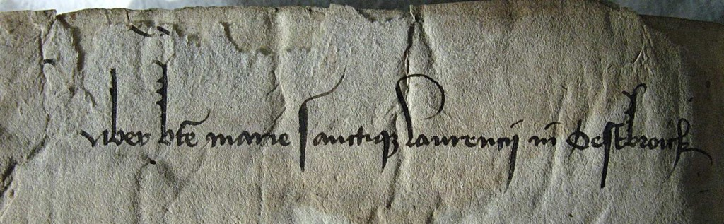 Aanduiding op middeleeuws boek uit de Biibliotheek van Oostbroek. (Universiteitsbibliotheek Utrecht.)   © De Vierklank