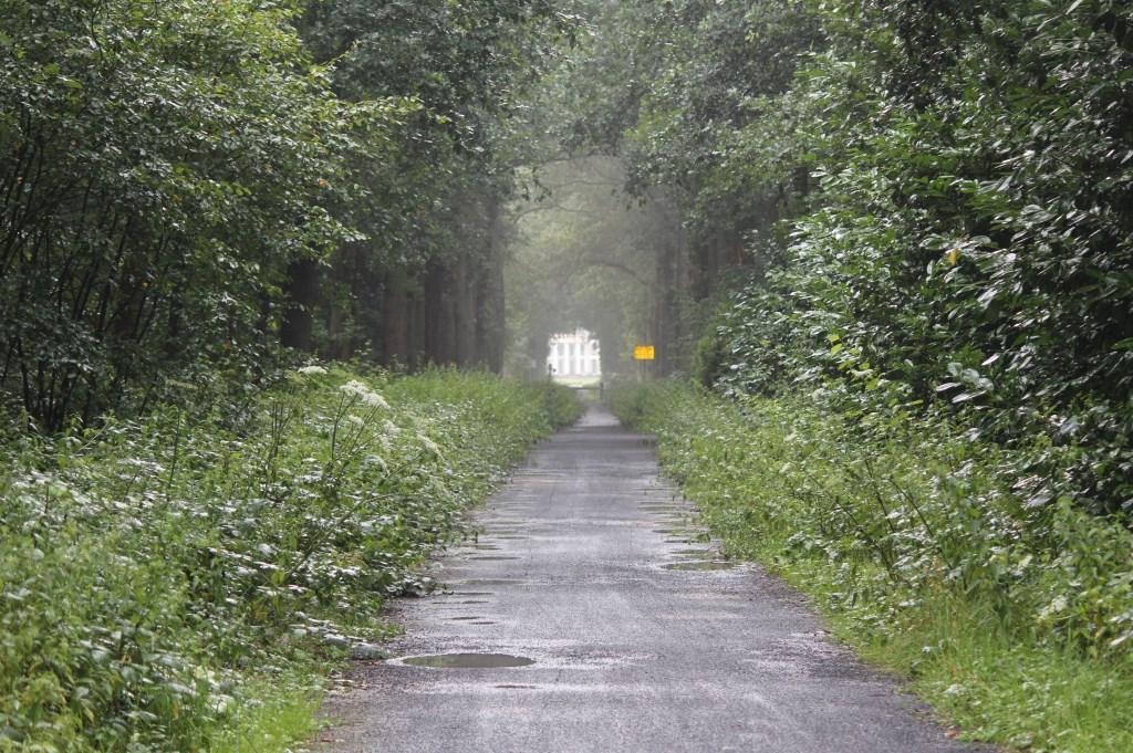 Ook na een regenbui blijft de zichtas op/vanaf Eyckenstein via de Oude Gezichtslaan zichtbaar. [foto Henk van de Bunt]